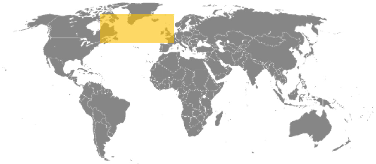 Map showing the growth range of Ascophyllum nodosum seaweed kelp in the North Atlantic Ocean including Ireland, Scotland, France, Canada, and Maine